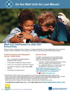 Flyer reminding families about immunization requirements
